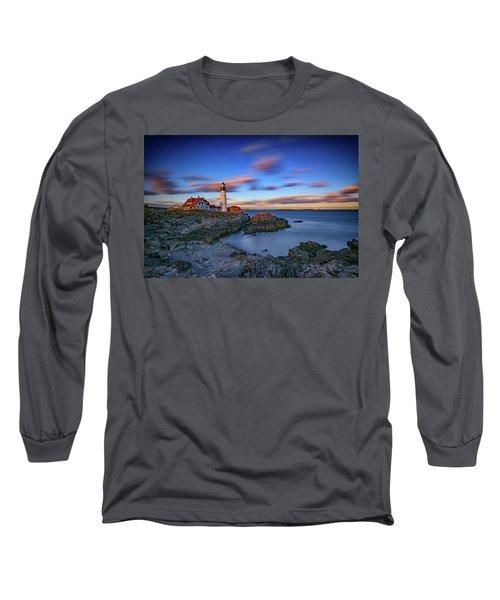 Dusk At Portland Head Lighthouse Long Sleeve T-Shirt