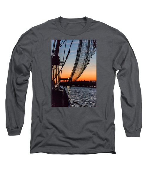 Dusk At Shem Creek Pier In Mt. Pleasant, Sc Long Sleeve T-Shirt