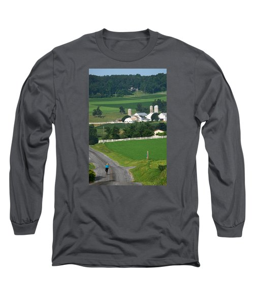 Dutch Country Bike Ride Long Sleeve T-Shirt by Lawrence Boothby