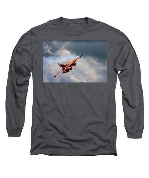 Dutch F16 Take Off At Waddington Long Sleeve T-Shirt by Ken Brannen