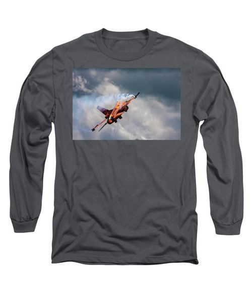 Dutch F16 Take Off At Waddington Long Sleeve T-Shirt