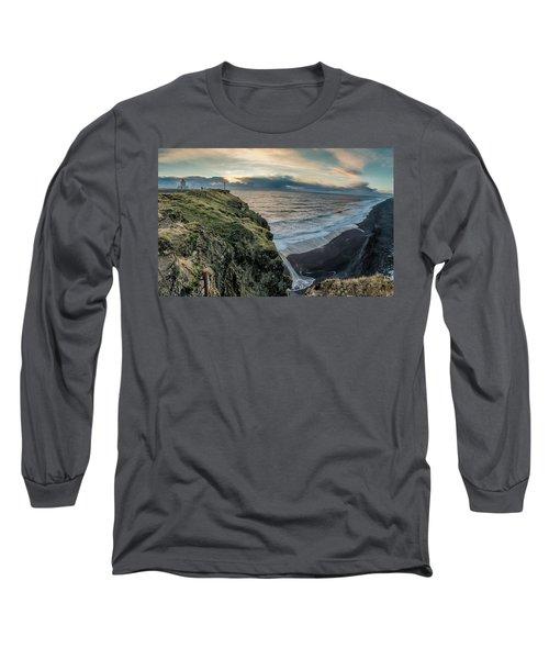 Long Sleeve T-Shirt featuring the photograph Dyrholaey Light House by Allen Biedrzycki