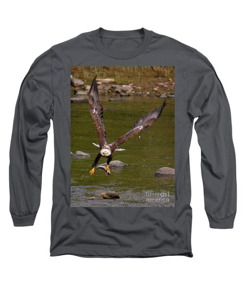 Long Sleeve T-Shirt featuring the photograph Eagle Fying With Fish by Debbie Stahre