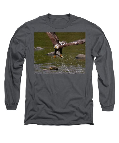 Long Sleeve T-Shirt featuring the photograph Eagle Over Seal Rock by Debbie Stahre