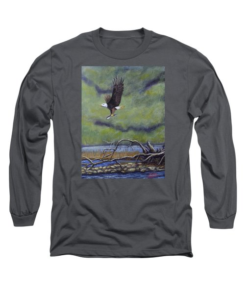 Long Sleeve T-Shirt featuring the painting Eagle River by Dan Wagner