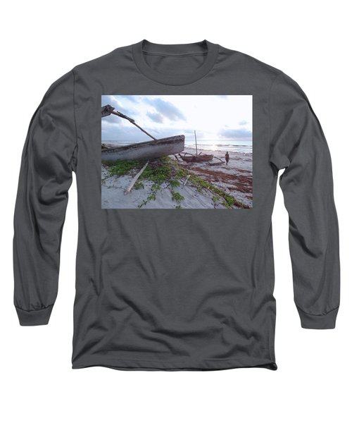 early morning African fisherman and wooden dhows Long Sleeve T-Shirt