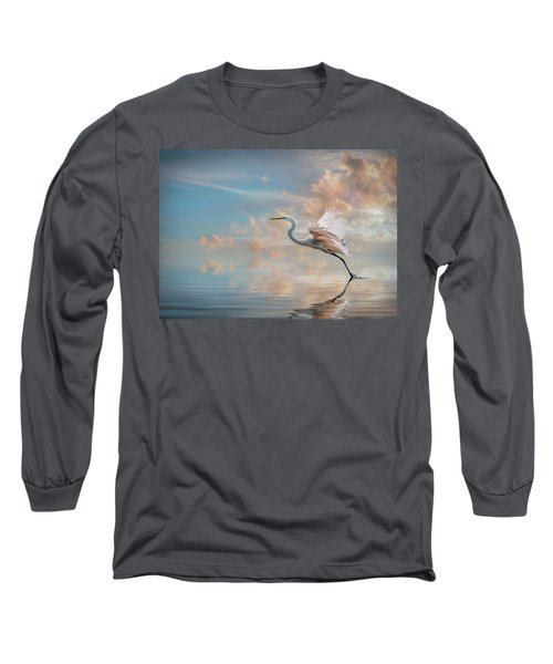 Early Morning Egret Long Sleeve T-Shirt by Brian Tarr