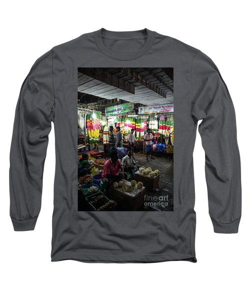 Long Sleeve T-Shirt featuring the photograph Early Morning Koyambedu Flower Market India by Mike Reid