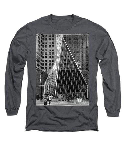 East 42nd Street, New York City  -17663-bw Long Sleeve T-Shirt by John Bald