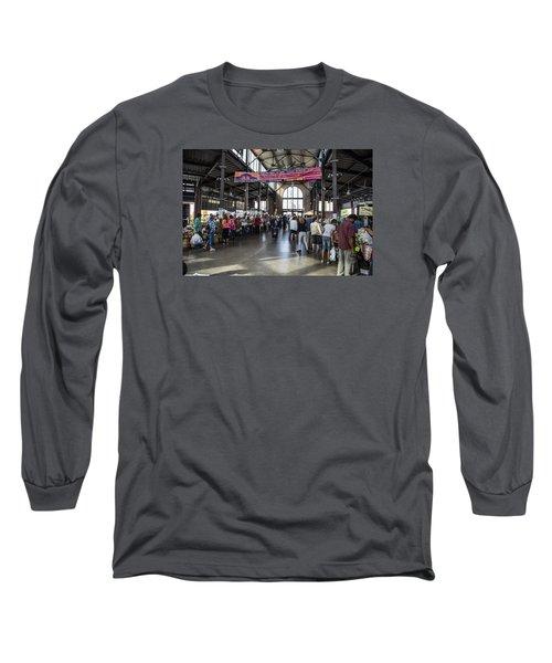 Eastern Market Detroit Saturday  Long Sleeve T-Shirt by John McGraw