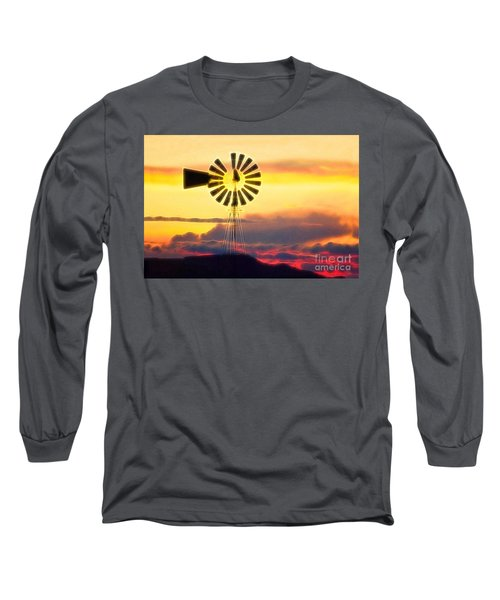 Eclipse Windmill In The Sunset Clouds Long Sleeve T-Shirt by Wernher Krutein