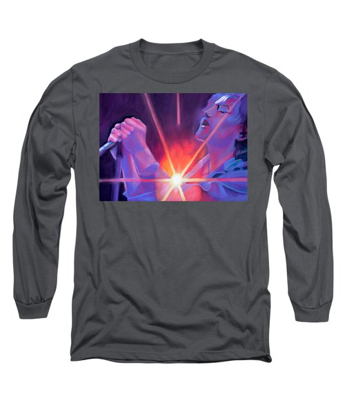 Eddie Vedder And Lights Long Sleeve T-Shirt by Joshua Morton