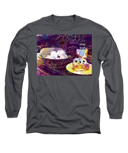 Long Sleeve T-Shirt featuring the digital art Egg Milk Butter Out Garden Herbs  by PixBreak Art