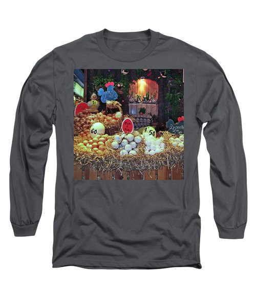 Long Sleeve T-Shirt featuring the photograph Eggs In Market by Haleh Mahbod