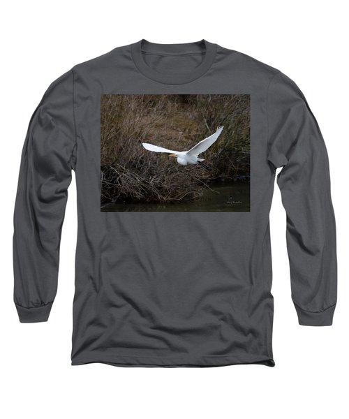 Long Sleeve T-Shirt featuring the photograph Egret In Flight by George Randy Bass