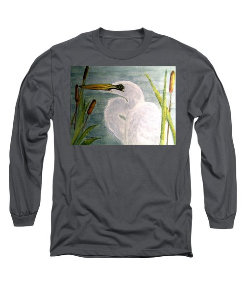 Long Sleeve T-Shirt featuring the painting Egret In The Cattails by Carol Grimes