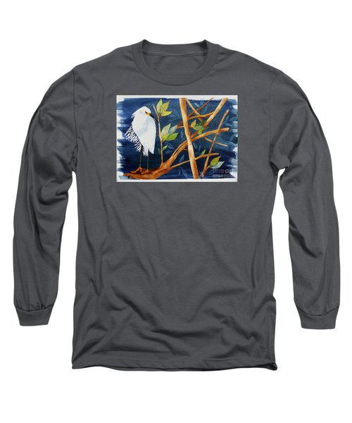 Long Sleeve T-Shirt featuring the painting Egret In The Mangroves  by Terri Mills