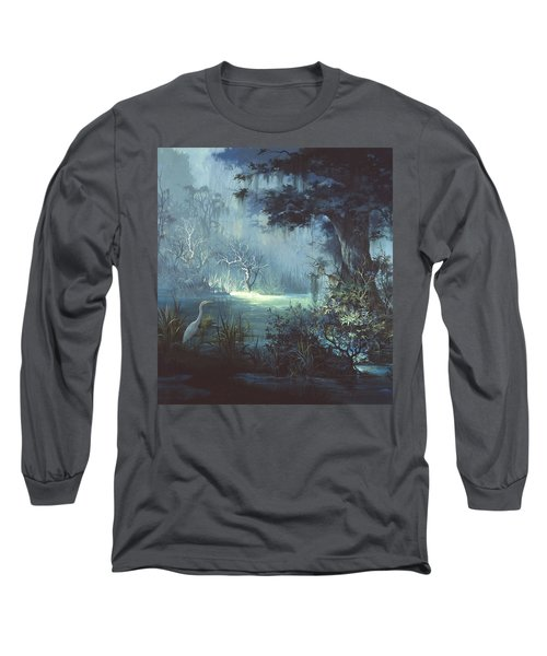 Egret In The Shadows Long Sleeve T-Shirt