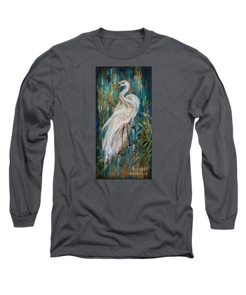 Egret Near Waterfall Long Sleeve T-Shirt