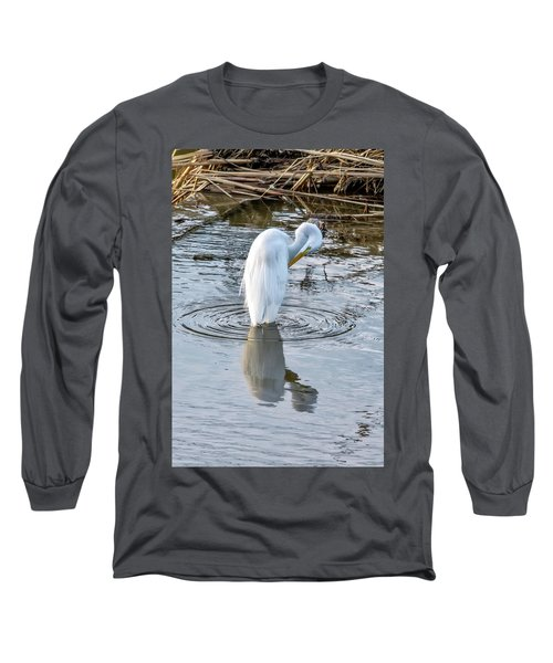 Egret Standing In A Stream Preening Long Sleeve T-Shirt