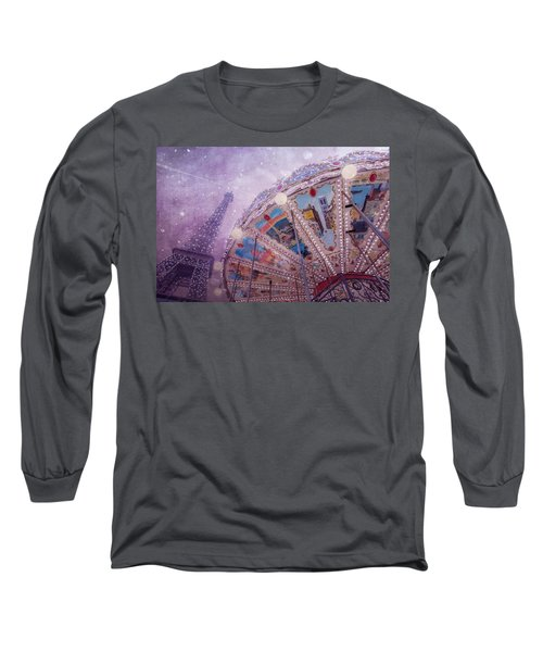 Long Sleeve T-Shirt featuring the photograph Eiffel Tower And Carousel by Clare Bambers