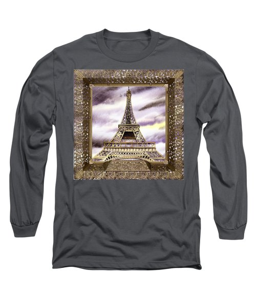 Long Sleeve T-Shirt featuring the painting Eiffel Tower Laces Iv  by Irina Sztukowski