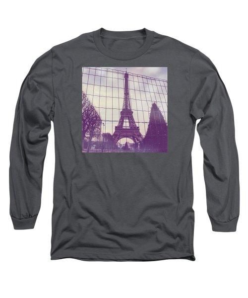 Eiffel Tower Through Fence Long Sleeve T-Shirt by Aurella FollowMyFrench