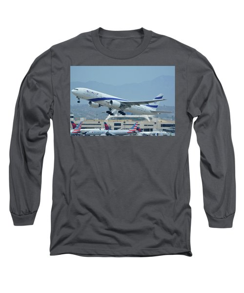 Long Sleeve T-Shirt featuring the photograph El Al Boeing 777-258er 4x-ece Los Angeles International Airport May 3 2016 by Brian Lockett
