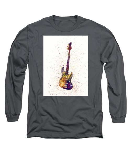 Electric Bass Guitar Abstract Watercolor Long Sleeve T-Shirt
