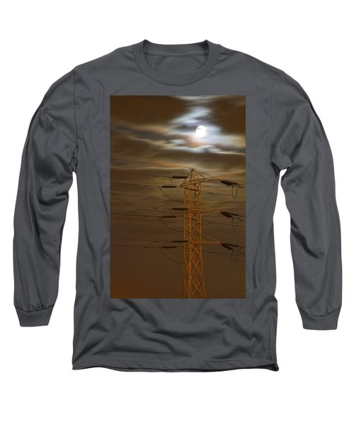 Electric Tower Under Supermoon Long Sleeve T-Shirt