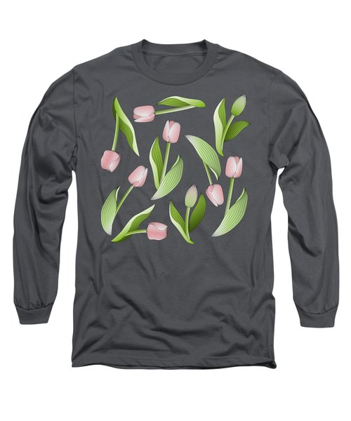 Elegant Chic Pink Tulip Floral Patten Long Sleeve T-Shirt by Wind-Up Sprout Design