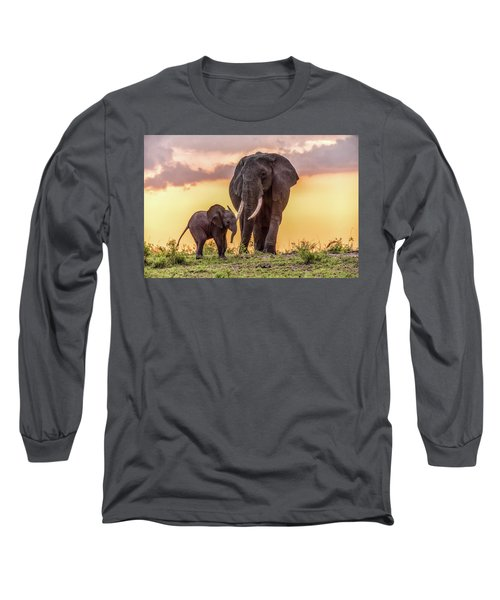 Elephants At Sunset Long Sleeve T-Shirt