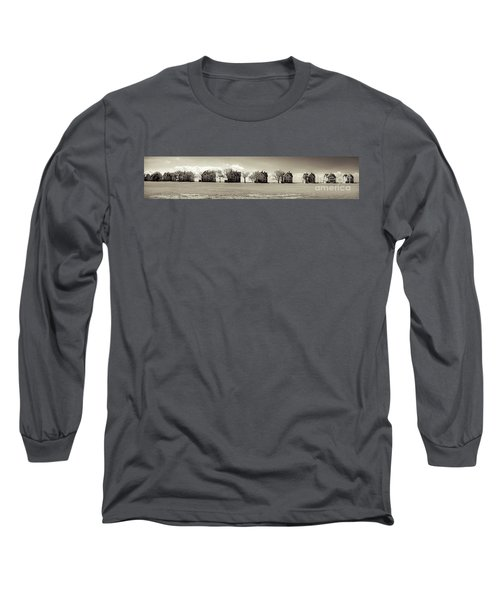 Long Sleeve T-Shirt featuring the photograph Eleven In A Row - Officer's Row - Monotone by Colleen Kammerer