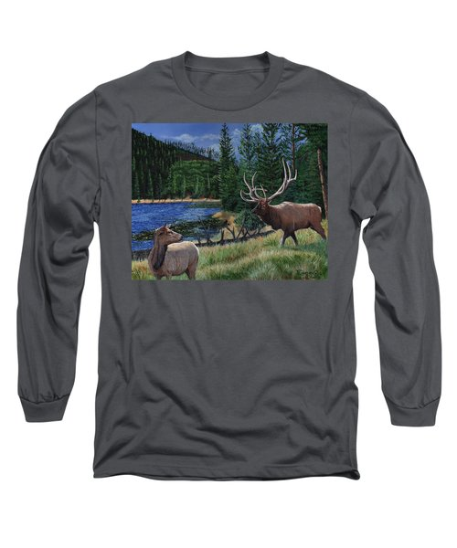 Elk At Beaver Lake  Yellowstone Long Sleeve T-Shirt