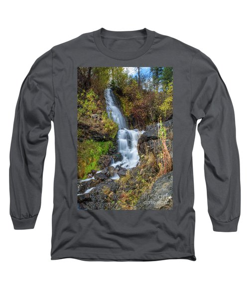 Elk Creek Waterfall Waterscape Art By Kaylyn Franks Long Sleeve T-Shirt