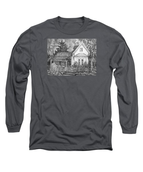 Long Sleeve T-Shirt featuring the painting Elma's House In Bw by Gretchen Allen