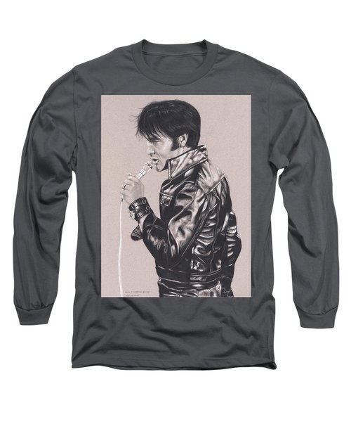Elvis In Charcoal #177, No Title Long Sleeve T-Shirt
