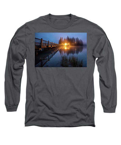 Long Sleeve T-Shirt featuring the photograph Emerald Lake Lodge In The Twilight Fog by Pierre Leclerc Photography