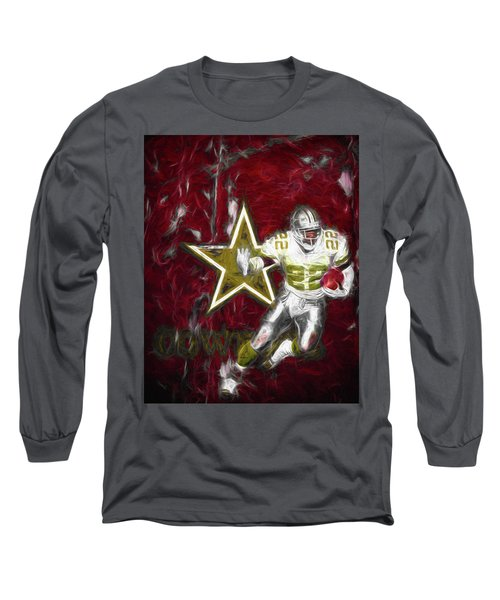 Long Sleeve T-Shirt featuring the photograph Emmitt Smith Nfl Dallas Cowboys Gold Digital Painting 22 by David Haskett