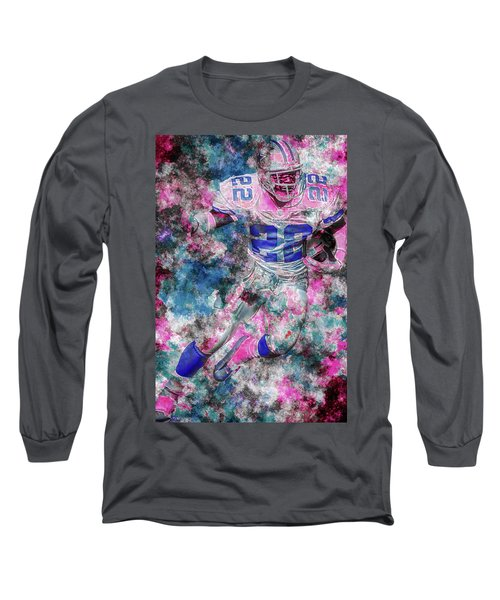 Long Sleeve T-Shirt featuring the photograph Emmitt Smith Nfl Football Painting Digital  Es22 One by David Haskett