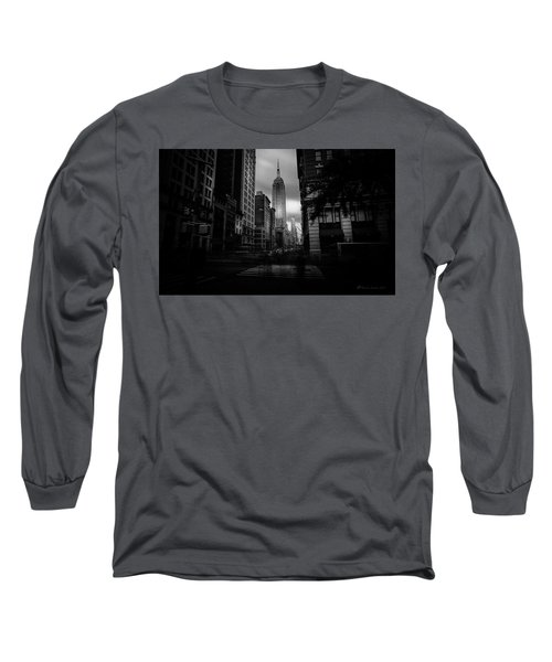 Long Sleeve T-Shirt featuring the photograph Empire State Building Bw by Marvin Spates