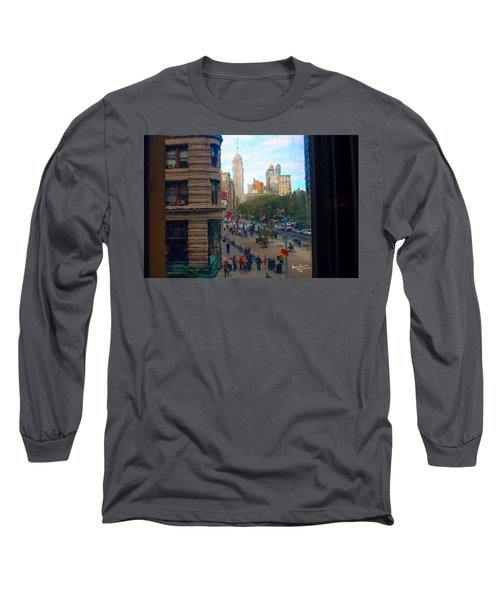 Long Sleeve T-Shirt featuring the photograph Empire State Building - Crackled View 2 by Madeline Ellis