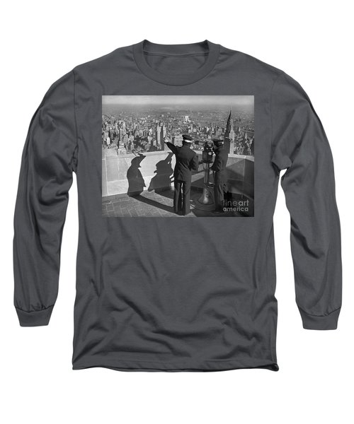 Long Sleeve T-Shirt featuring the photograph Empire State Lookout 1947 by Martin Konopacki Restoration