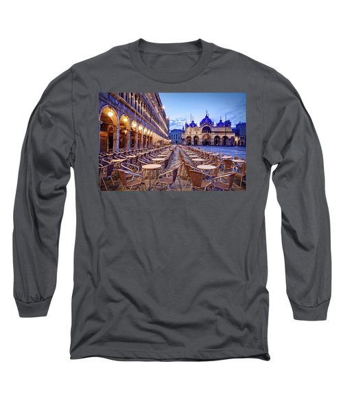 Empty Cafe On Piazza San Marco - Venice Long Sleeve T-Shirt