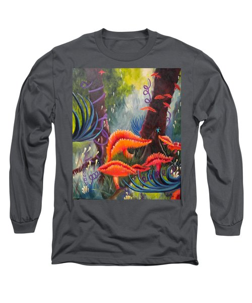 Long Sleeve T-Shirt featuring the painting Enchanted Forest by Renate Nadi Wesley