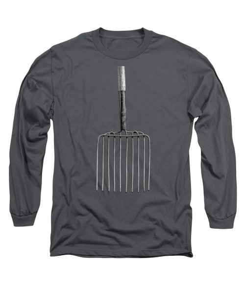 Ensilage Fork Up On Plywood In Bw 66 Long Sleeve T-Shirt
