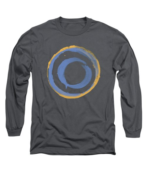 Long Sleeve T-Shirt featuring the painting Enso T Blue Orange by Julie Niemela