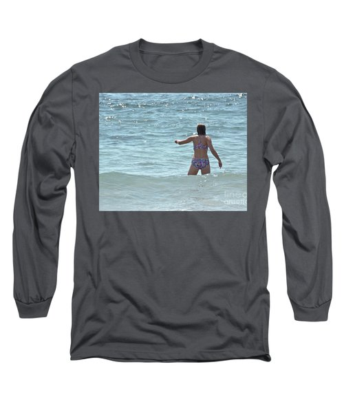 Entering Waves Of Pacific Ocean Long Sleeve T-Shirt by Yurix Sardinelly