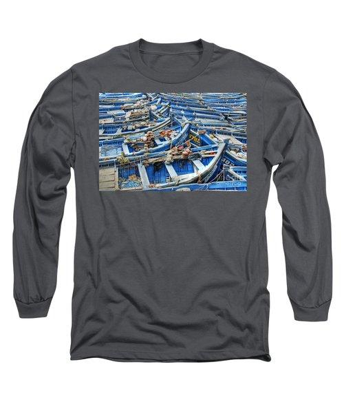 Essaouira Blue Fishing Boats Long Sleeve T-Shirt