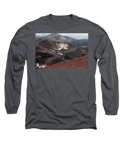 Long Sleeve T-Shirt featuring the photograph Etna, Red Mount Crater by Bruno Spagnolo